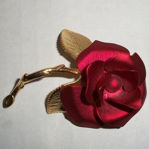 Vintage Red Rose USA Made Brooch